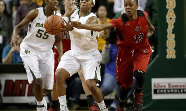 Baylor guard Odyssey Sims (0) reaches out to grab a pass under pressure from Texas Tech's Amber Battle (12) in the first half of an NCAA college basketball game, Wednesday, Jan. 29, 2014, in Waco, Texas. (AP Photo/Tony Gutierrez)
