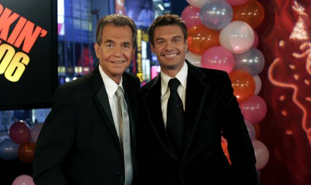 "FILE - This Jan. 1, 2006 file photo originally released by ABC shows Dick Clark, left, posing with Ryan Seacrest in New York. Clark, the ever-youthful television host and tireless entrepreneur who helped bring rock `n' roll into the mainstream on ""American Bandstand,"" and later produced and hosted a vast range of programming from game shows to the New Year's Eve countdown from Times Square, died of a heart attack on Wednesday, April 18, 2012. He was 82. (AP Photo/ABC, file)"
