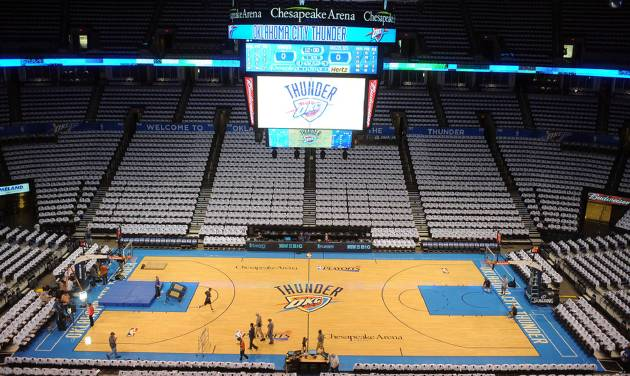 May 15, 2013; Oklahoma City, OK, USA; A general view of the court before game five of the second round of the 2013 NBA Playoffs between the Memphis Grizzlies and Oklahoma City Thunder at Chesapeake Energy Arena. Mandatory Credit: Mark D. Smith-USA TODAY Sports