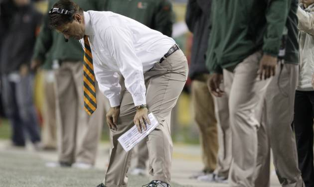 Miami head coach Al Golden reacts during the second half of an NCAA college football game against Notre Dame at Soldier Field, Saturday, Oct. 6, 2012, in Chicago. (AP Photo/Nam Y. Huh)