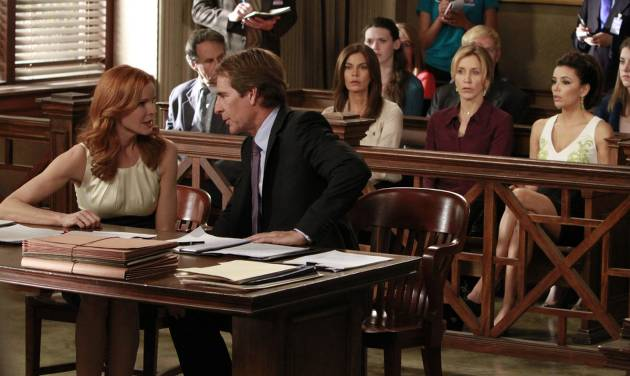 "In this publicity image released by ABC, Marcia Cross, left, and Scott Bakula are shown with, from right, Eva Longoria, Felicity Huffman and Teri Hatcher in a scene from the series finale of ""Desperate Housewives,"" that was shown Sunday, May 13, 2012 at 9:00p.m. EST on ABC. (AP Photo/ABC, Ron Tom)"