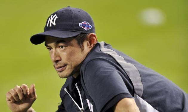 New York Yankees' Ichiro Suzuki stretches during baseball practice Friday, Oct. 5, 2012, at Yankee Stadium in New York for an American League division series. (AP Photo/Bill Kostroun)