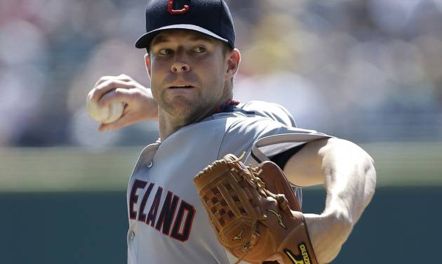 Cleveland Indians starting pitcher Corey Kluber throws against the Detroit Tigers in the first inning of a baseball game in Detroit, Monday, Sept. 3, 2012. (AP Photo/Paul Sancya)