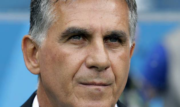 Iran's head coach Carlos Queiroz looks on before the group F World Cup soccer match between Bosnia and Iran at the Arena Fonte Nova in Salvador, Brazil, Wednesday, June 25, 2014. (AP Photo/Sergei Grits)
