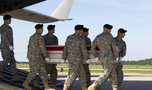 FILE - In this June 1, 2014, file photo, an Army carry team, carries the transfer case containing the remains of Army Pfc. Jacob H. Wykstra of  Thornton, Colo., upon arrival at Dover Air Force Base, Del. The Department of Defense announced the death of Wykstra who was supporting Operation Enduring Freedom in Afghanistan. he deteriorating situation in Iraq is giving Congress pause about President Barack Obama's plan to withdraw U.S. forces from Afghanistan by the end of 2016. Lawmakers fear that the hard-fought gains in Afghanistan could be wiped out by a resurgent Taliban. Senior Obama administration officials insist that Afghanistan is not Iraq.  ( AP Photo/Jose Luis Magana, File)