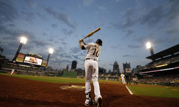 Pittsburgh Pirates shortstop Jordy Mercer (10) warms up on-deck at PNC Park during a baseball game against the Milwaukee Brewers in Pittsburgh, Wednesday, May 15, 2013. The Pirates won 3-1. (AP Photo/Gene J. Puskar) ORG XMIT: PAGP120