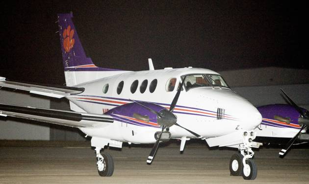 A Clemson University plane, reportedly carrying athletic director Terry Don Phillips, sits outside a hangar at Wiley Post Airport on Tuesday. Photo by Bryan Terry, The Oklahoman