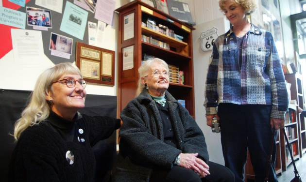 """File-This Jan.16, 2006 file photo shows late Beat writer Neal Cassady's  daughter, Jami Cassady, left, his wife, Carolyn Cassady, center, and daughter, Cathy Cassady, smiling while visiting """"The Beat Museum,"""" in the North Beach district of San Francisco.  A longtime friend of Carolyn Cassady has confirmed the writer who was the former wife of Beatnik Neal Cassady and lover of Jack Kerouac has died. She was 90 years old. Estelle Cimino, co-owner of the Beat Museum in San Francisco, said Saturday Sept. 21, 2013 that Carolyn Cassady died Friday Sept. 20, 2013 in the United Kingdom (AP Photo/George Nikitin, File)"""