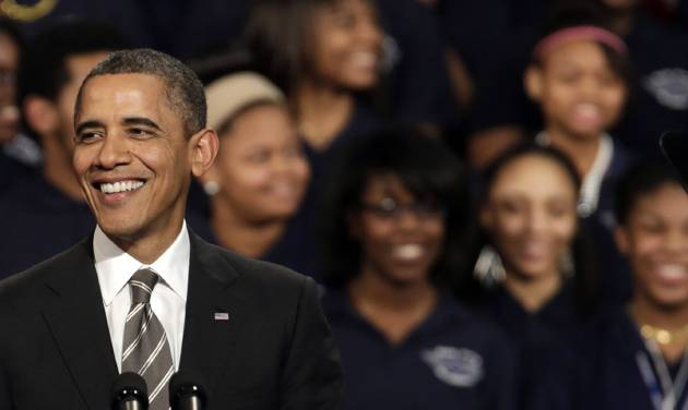 President Barack Obama speaks about strengthening the economy for the middle class and the nations struggle with gun violence at an appearance at Hyde Park Academy, Friday, Feb. 15, 2013, in Chicago.  (AP Photo/M. Spencer Green)