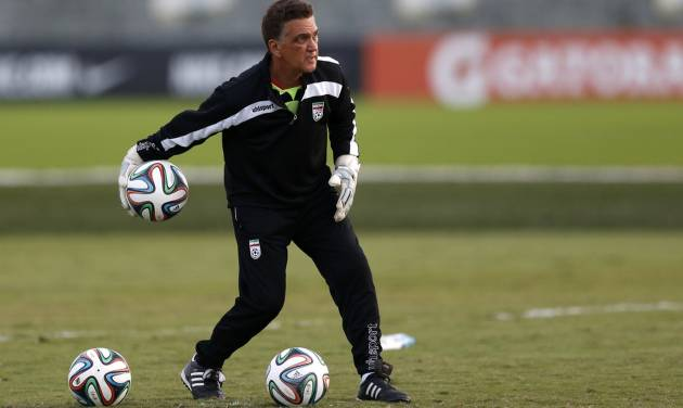 FILE - In this June 8, 2014 file photo, Iran goalkeepers coach Dan Gaspar works with goalies at the Corinthians soccer team training center in Sao Paulo, Brazil. The 58-year-old from Connecticut is at the World Cup, soccer's pinnacle. (AP Photo/Julio Cortez, File)