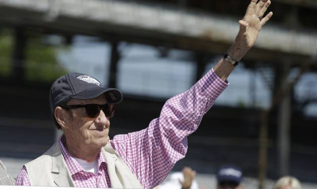 """Jim Nabors, who will sign """"(Back Home Again in) Indiana"""" for his final time at tomorrow's Indianapolis 500 IndyCar auto race. is introduced during the drivers meeting at the Indianapolis Motor Speedway in Indianapolis, Saturday, May 24, 2014. The 98th running of the Indianapolis 500 is Sunday. Nabors has sung the song for 37 years during pre-race festivities.  (AP Photo/Darron Cummings)"""