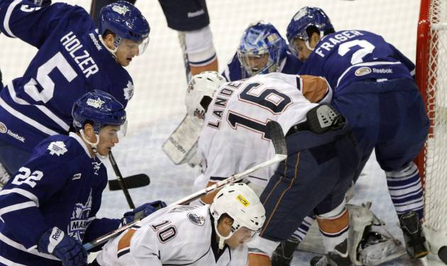 OKLAHOMA CITY BARONS / AHL HOCKEY: OKC Barons and Toronto Marlies get bunched up at the goal during Field Trip Day with the Barons Hockey at the Cox Convention Center in Oklahoma City, OK, Tuesday, November 13, 2012,  By Paul Hellstern, The Oklahoman