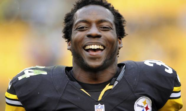 Pittsburgh Steelers running back Rashard Mendenhall smiles after their 16-14 win over the Philadelphia Eagles, Sunday, Oct. 7, 2012, in Pittsburgh. (AP Photo/Altoona Mirror, J.D. Cavrich)
