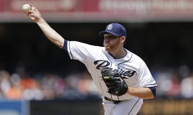 San Diego Padres starting pitcher Ian Kennedy delivers to a San Francisco Giants batter during the first inning, Monday, Sept. 2, 2013, in San Diego. (AP Photo/Gregory Bull)
