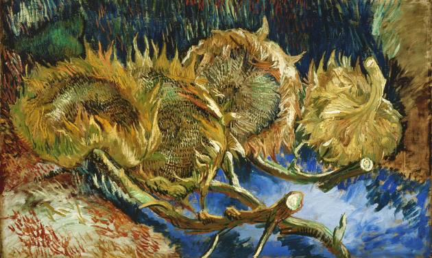 "In this photo provided by the Kroeller-Mueller Museum in Otterlo on Tuesday, Dec. 11, 2012 the 1887 painting ""Four sunflowers gone to seed"" by Vincent van Gogh is seen.With the Van Gogh Museum in Amsterdam closed for renovations, the world's second-largest collection of the tortured Dutch master's work is stepping into the limelight. The lesser-known Kroeller-Mueller museum in the eastern Netherlands has revamped the layout of its central rooms, giving more space and focus to many of its top works. (AP Photo/ Kroeller-Mueller Museum)"