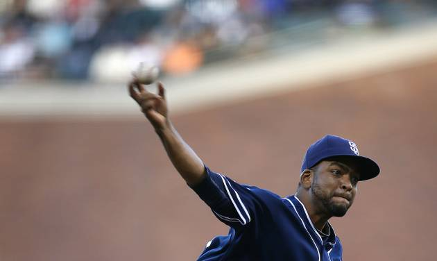 San Diego Padres pitcher Odrisamer Despaignethrows against the San Francisco Giants during the first inning of a baseball game in San Francisco, Monday, June 23, 2014. (AP Photo/Tony Avelar)
