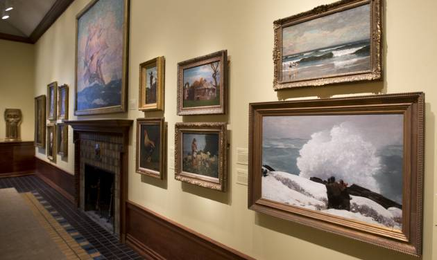 This May 2, 2014 photo shows paintings by artist Winslow Homer mounted in the Arkell Museum in Canajoharie, N.Y. The museum, started in 1928 by Bartlett Arkell, founder of the Beech-Nut food company, is located next door to company's former plant in Canajoharie, population 2,200. (AP Photo/Mike Groll)