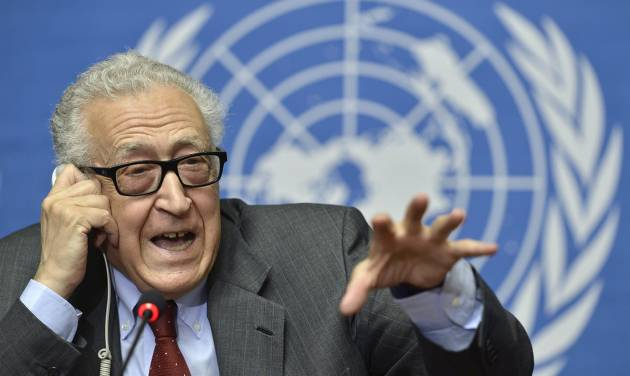 "The UN Joint Special Representative for Syria Lakhdar Brahimi speaks on developments related to Syria during a press conference at the European headquarters of the United Nations in Geneva, Switzerland, Wednesday, Aug. 28, 2013. Evidence suggests that some kind of chemical ""substance"" was used in Syria that may have killed more than 1,000 people, but any military strike in response must first gain U.N. Security Council approval, the U.N.'s special envoy to Syria Brahimi said. (AP Photo/Keystone, Martial Trezzini)"