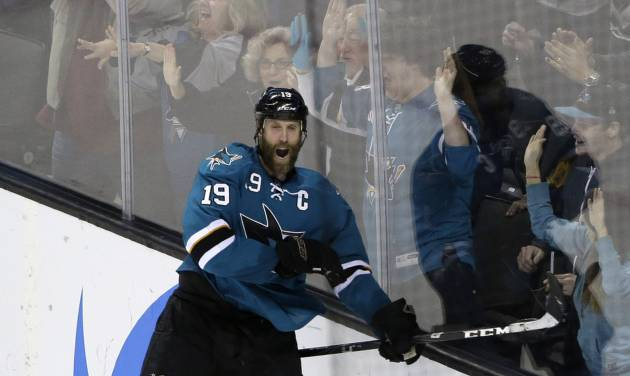 San Jose Sharks' Joe Thornton celebrates his game-winning goal during overtime of an NHL hockey game against the Minnesota Wild on Saturday, Jan. 25, 2014, in San Jose, Calif. San Jose won 3-2 in overtime. (AP Photo/Marcio Jose Sanchez)