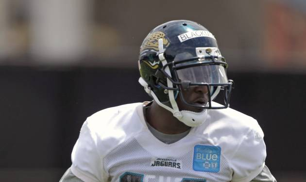 Jacksonville Jaguars receiver Justin Blackmon runs a pass pattern during NFL football rookie minicamp, Friday, May 4, 2012, in Jacksonville, Fla. (AP Photo/John Raoux)