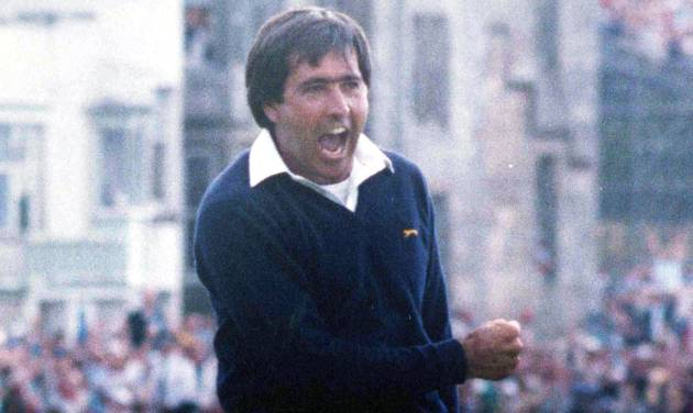 FILE - In this July 22, 1984, file photo, Spain's Severiano Ballesteros celebrates winning the British Open golf tournament at St. Andrews, Scotland. Longtime friend Jose Maria Olazabal revealed on Tuesday, Sept. 25, 2012, that Europe is honoring the memory of Seve Ballesteros by putting his iconic image on its golf bags. The bags have a silhouette that depicts Ballesteros' reaction to winning the 1984 British Open at St. Andrews. This is the first Ryder Cup without Ballesteros, who died in May 2011. (AP Photo/File)