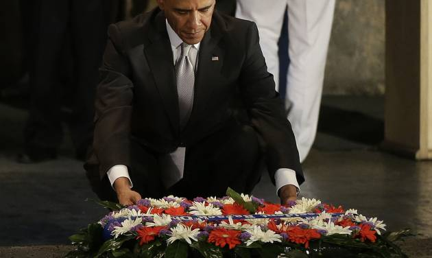 U.S. President Barack Obama lays a wreath during his visit to the Hall of Remembrance at the Yad Vashem Holocaust Memorial in Jerusalem, Israel, Friday, March 22, 2013. (AP Photo/Pablo Martinez Monsivais)