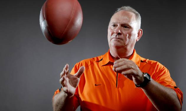 Oklahoma State defensive coordinator Bill Young's job gets tougher starting this week as the Cowboys start a stretch of games against the top offenses in the Big 12. Photo by Bryan Terry, The Oklahoman.  BRYAN TERRY