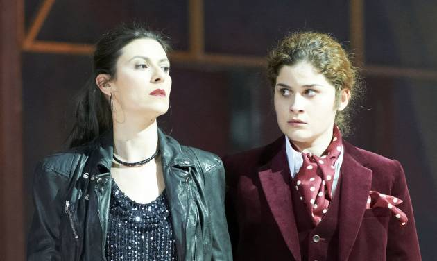 "In this photo taken Monday, May 7, 2012, Chen Reiss in the role of Servilia and Serena Malfi as Annio, from left, perform during a dress rehearsal for the opera ""La Clemenza di Tito"" by Wolfgang Amadeus Mozart at the State Opera in Vienna, Austria. (AP Photo/Wiener Staatsoper/Michael Poehn)"