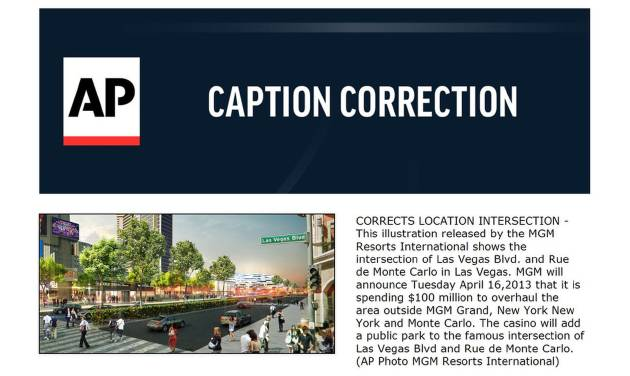 CORRECTS LOCATION INTERSECTION - This illustration released by the MGM Resorts International shows the intersection of Las Vegas Blvd. and Rue de Monte Carlo in Las Vegas. MGM will announce Tuesday April 16,2013 that it is spending $100 million to overhaul the area outside MGM Grand, New York New York and Monte Carlo. The casino will add a public park to the famous intersection of Las Vegas Blvd and Rue de Monte Carlo. (AP Photo MGM Resorts International)