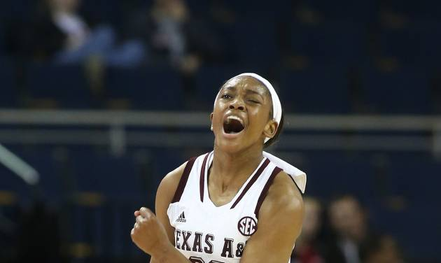 Texas A&M center Rachel Mitchell (23) reacts after scoring in the first half against Auburn during an NCAA college basketball game in the quarterfinals of the Southeastern Conference women's tournament, Friday, March 7, 2014, in Duluth, Ga. (AP Photo/Jason Getz)
