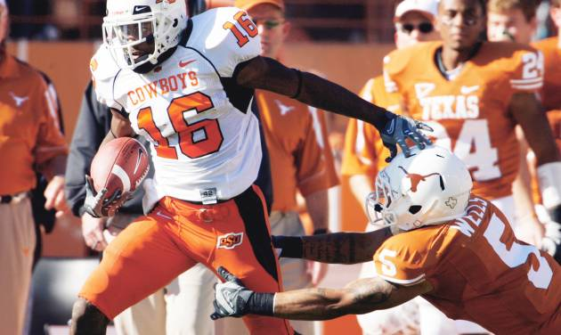 Cornerback Perrish Cox, left, is the only returning starter for Oklahoma State in the defensive backfield.  Photo by Steve Sisney, The Oklahoman