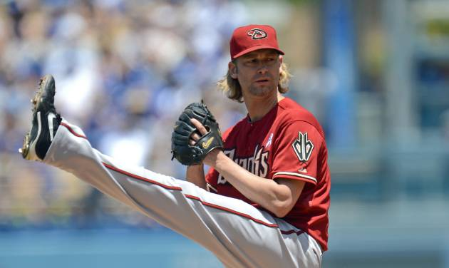 Arizona Diamondbacks' Bronson Arroyo pitches in the first inning a baseball game against the Los Angeles Dodgers, Sunday, June 15, 2014, in Los Angeles. (AP Photo/Jayne Kamin-Oncea)