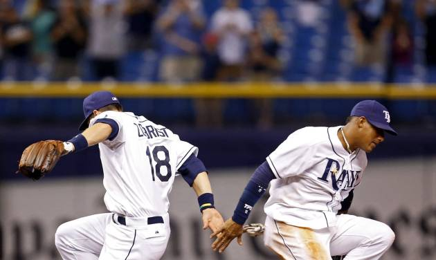 Tampa Bay Rays' Ben Zobrist, left, and Yunel Escobar celebrate the team's 8-1 win over the Texas Rangers in a baseball game Friday, April 4, 2014, in St. Petersburg, Fla. (AP Photo/Mike Carlson)
