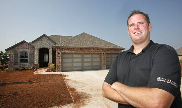 Brandon Waller of Affinity Homes shows the project home the company built at 1812 NE 27 Terrace in Moore for the Southwest Showcase of Homes. The event has 24 new homes open free to the public from 1 to 7 p.m. through Aug. 3. PHOTO BY DAVID McDANIEL, THE OKLAHOMAN   David McDaniel -