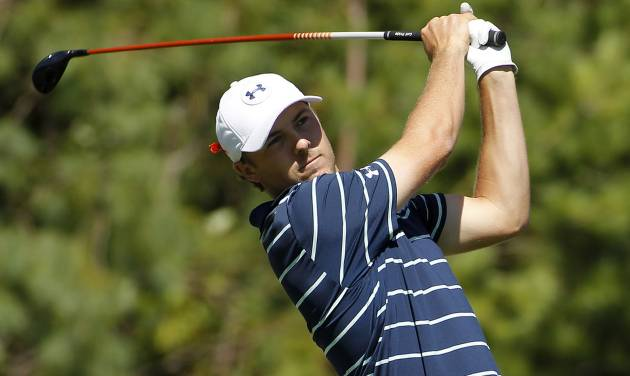 Jordan Spieth hits off the third tee during the second round of the Deutsche Bank Championship golf tournament in Norton, Mass., Saturday, Aug. 30, 2014. (AP Photo/Stew Milne)