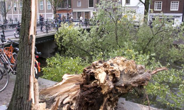 A fallen tree branch blocks Herengracht canal in Amsterdam, Monday, Oct. 28, 2013. A major storm with hurricane-force gusts lashed southern Britain, the Netherlands and parts of France on Monday, knocking down trees, flooding low areas and causing travel chaos. Dutch citizens were warned against riding their bicycles because of the high winds. Amsterdam police said a woman was killed when a tree fell on her in the city and advised people to stay indoors. (AP Photo/Margriet Faber)