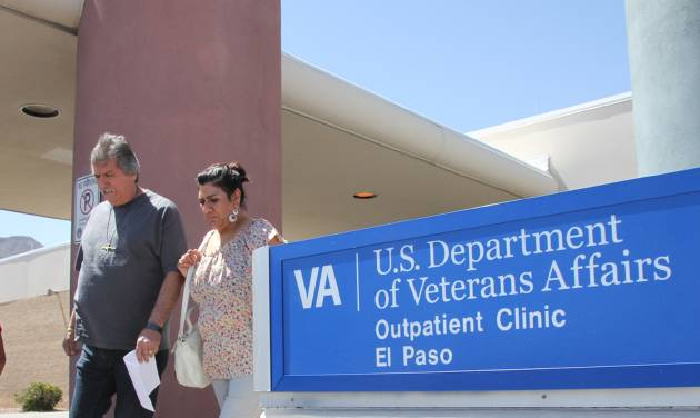 In this June 9, 2014, photo, David and Marianne Trujillo exit the Vetaran Affairs facility in El Paso, Texas. Some Veterans Affairs facilities in Texas have among the longest wait-times in the nation for those trying to see a doctor for the first time, according to federal data. It's not just veterans who sometimes have to wait for health care. Depending on where you live and what kind of care you want, in parts of the country it's not always easy for new patients to get a quick appointment.  (AP Photo/Juan Carlos Llorca)