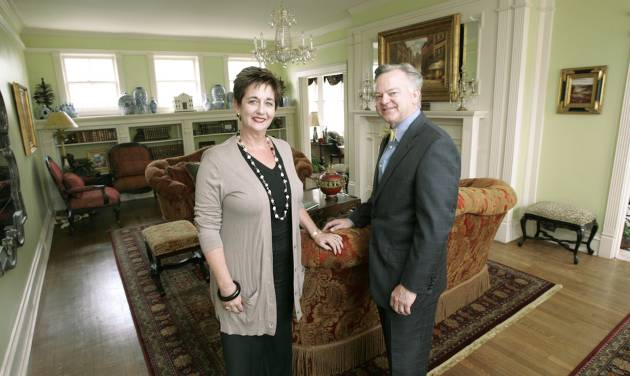 Glenna Tanenbaum and Mike McAuliffe, co- chairmen of the Symphony Designers Show House, stand in the main living room of the home at 431 NW 17 in Oklahoma City's Heritage Hills neighborhood. PHOTO BY STEVE GOOCH, THE OKLAHOMAN