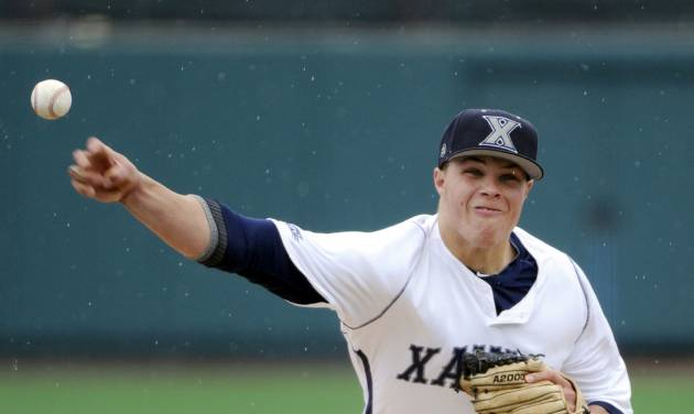 Xavier pitcher Vinny Nittoli delivers the ball to St. John's during the first inning of an NCAA college baseball game in the Big East tournament Friday, May 23, 2014, in New York. Nittoli got the win as Xavier defeated St. John's 8-2. (AP Photo/Bill Kostroun)