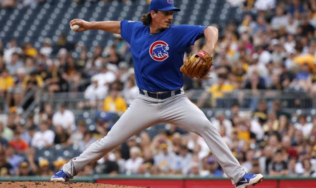 Chicago Cubs starting pitcher Jeff Samardzija delivers during the first inning of a baseball game against the Pittsburgh Pirates in Pittsburgh Thursday, June 12, 2014. (AP Photo/Gene J. Puskar)