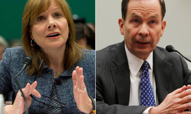 FILE - In this file combination made from file photos, General Motors CEO Mary Barra testifies before the House Energy and Commerce subcommittee on Oversight and Investigation on Tuesday, April 1, 2014, left, and former U.S. Attorney Anton R. Valukas testifies before the House Financial Services Committee on April 20, 2010, on Capitol Hill in Washington. Barra and Valukas will appear before the House Energy and Commerce Committee's oversight subcommittee on Wednesday, June 18, 2014. (AP Photo/Evan Vucci, Charles Dharapak, File)