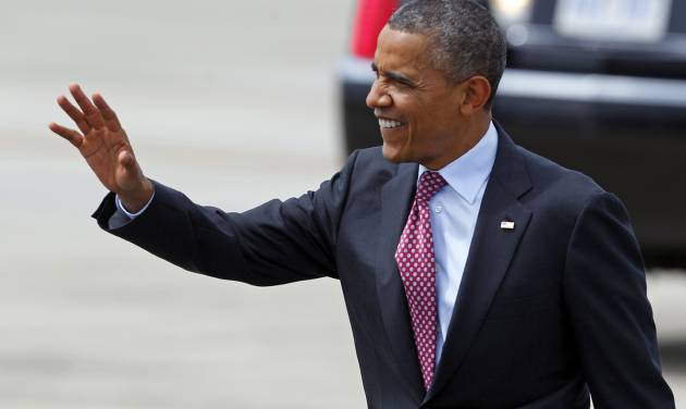 President Barack Obama waves to supporters as he arrives at the Charlotte/Douglas International Airport for the Democratic National Convention in Charlotte, N.C., Wednesday, Sept. 5, 2012. While Republican presidential nominee Mitt Romney's campaign rhetoric is emphasizing the current 8.3 percent unemployment rate, compared with 7.8 percent when Obama took office, President Obama's campaign naturally prefers to stress the more than 4 million jobs the economy has added in the past 2½ years. However, neither figure fully illustrates the state of the job market. (AP Photo/Chuck Burton)