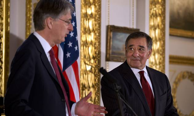 "Britain's Secretary of State for Defense Philip Hammond, left, speak to the media with U.S. Defense Secretary Leon Panetta during a news conference at Lancaster House in London on Saturday, Jan. 19, 2013. Britain's defense minister says it appears the hostage situation in Algeria has come to an end and resulted in further loss of life. Philip Hammond calls the loss of life appalling and unacceptable. He says ""it is the terrorists that bear the sole responsibility for it."" Hammond spoke at the start of a news conference with U.S. Defense Secretary Leon Panetta.  (AP Photo/Jacquelyn Martin)"