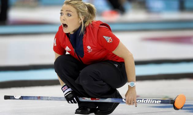 Britain's Anna Sloan shouts instructions to her teammates during the women's curling competition against Japan at the 2014 Winter Olympics, Friday, Feb. 14, 2014, in Sochi, Russia. (AP Photo/Wong Maye-E)