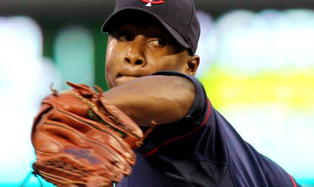 Minnesota Twins starting pitcher Samuel Deduno (21) throws against the Cleveland Indians during the first inning of a baseball game, Monday, Sept. 10, 2012, in Minneapolis. (AP Photo/Genevieve Ross)