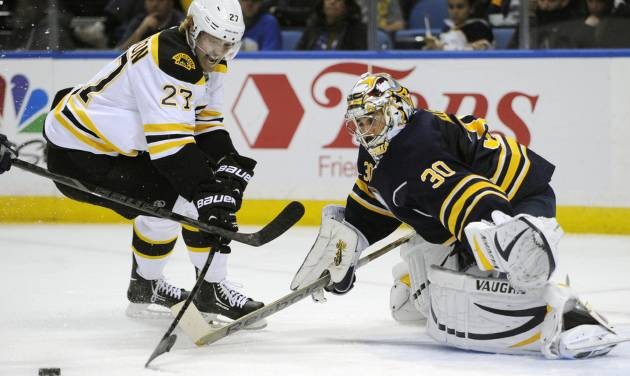 Boston Bruins' Dougie Hamilton (27) skates around Buffalo Sabres' Ryan Miller (30) during the second period of an NHL hockey game in Buffalo, N.Y., Wednesday, Oct. 23, 2013. (AP Photo/Gary Wiepert)