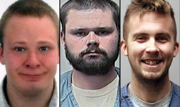This combination of undated photos provided by the Dane County, Wis., Sheriff's Office shows, from left: Matthew Graville; Robert McCumber and Jeffrey Vogelsberg, right. Prosecutors have accused Vogelsberg of beating and torturing to death his autistic half-brother, Graville, in the bathroom of the house he shared with McCumber in Mazomanie, Wis. McCumber is charged with helping bury Graville's body. Vogelsberg faces an extradition hearing in Washington state on Thursday, Dec. 6, 2012  on a homicide charge. (AP Photo/Dane County Sheriff's Office)