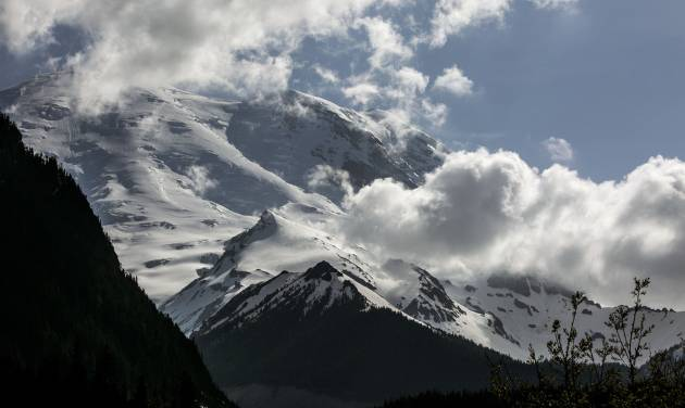 Mount Rainier as seen from the White River Campground, where six missing climbers attempting to summit, went missing and are believed dead after search attempts were suspended Saturday, May 31, 2014. (AP Photo/The Seattle Times, Bettina Hansen)