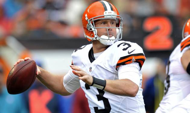 Cleveland Browns quarterback Brandon Weeden (3) looks to pass in the first quarter of an NFL football game against the Buffalo Bills Sunday, Sept. 23, 2012, in Cleveland. Weeden threw two interceptions and was sacked four times in a 24-14 loss to the Bills. (AP Photo/David Richard)