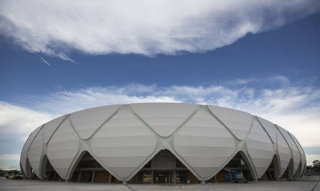 This May 20, 2014 photo shows a general view of the Arena da Amazonia in the World Cup host city of Manaus, Brazil. Manaus boasts a new stadium, but the project that most would have improved the daily lives of local residents was the overhaul of its public transportation system, which disappeared from the Sport Ministry's official list of World Cup infrastructure projects. (AP Photo/Felipe Dana)